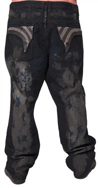 Robin's Jean Big and Tall In Dark Denim (Black/Clear Swarovski)