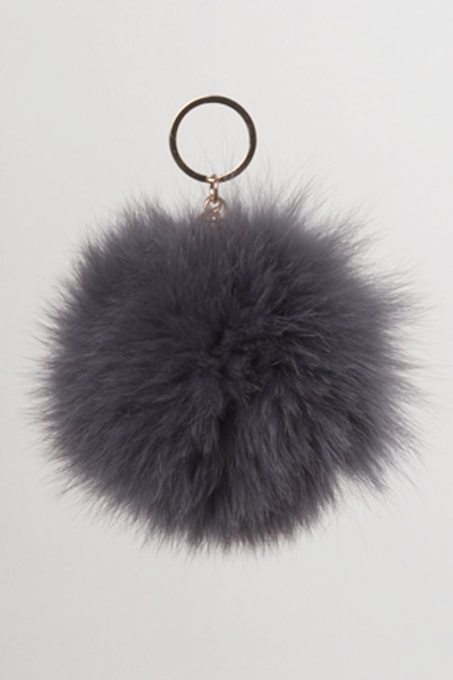 Charcoal Fur Ball Key Chain