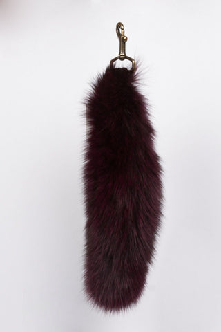 Deep Burgundy Fur Tail Key Chain