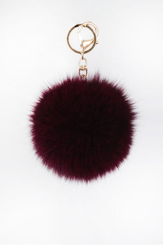 Cranberry Pom Pom Key Chain