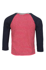 Boys Raglan Long Sleeve Striped Red Tee