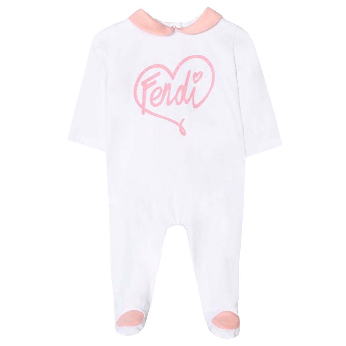 Fendi | Baby Girl Heart Logo Footie