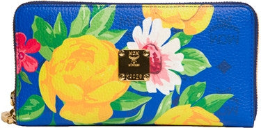 MCM Floral Zipped Wallet (Marazine Blue)
