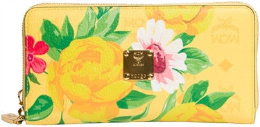 MCM Floral Zipped Wallet (Yellow)