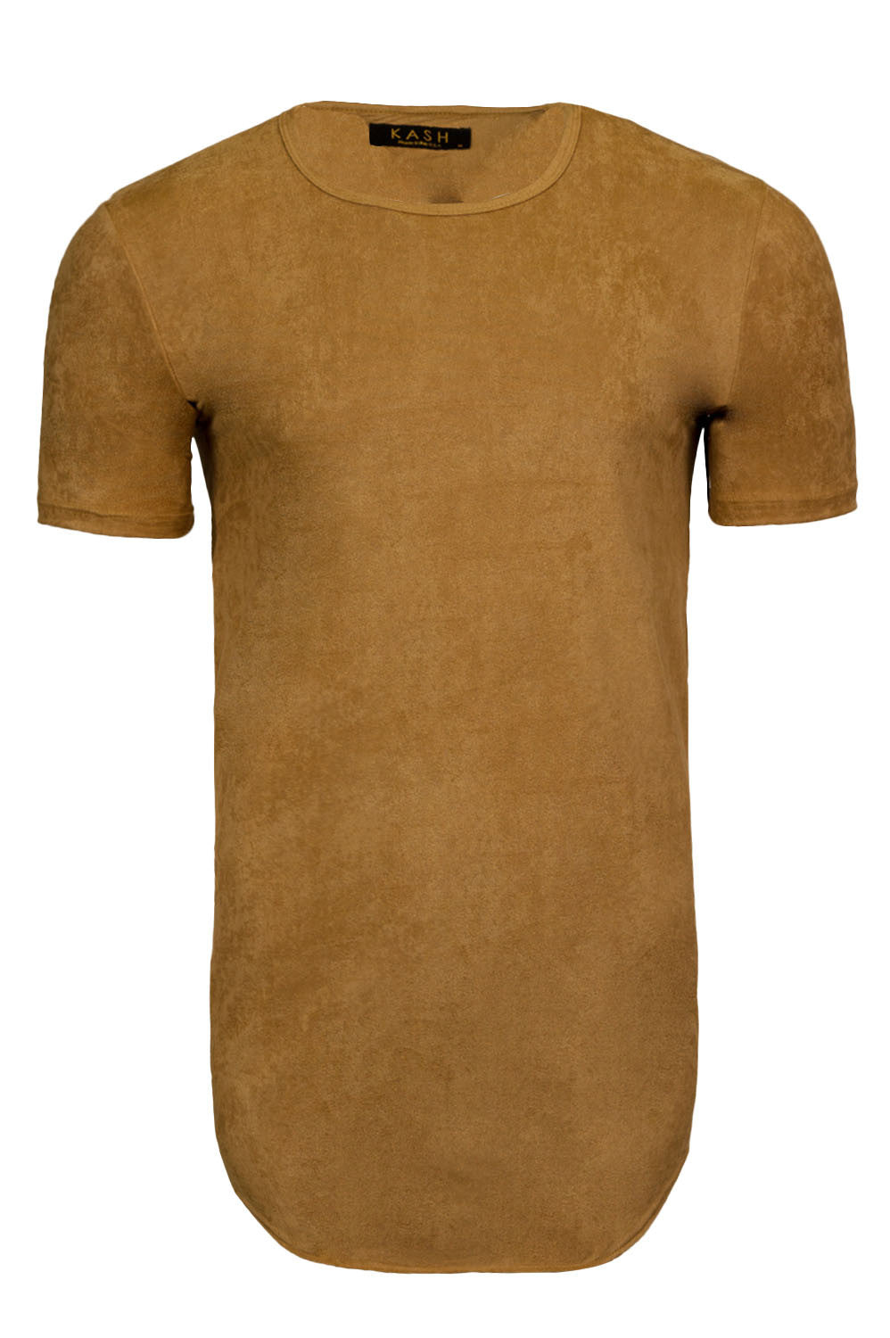Elongated Stretch Suede Camel Tunic