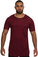 Elongated Stretch Suede Cranberry Tunic