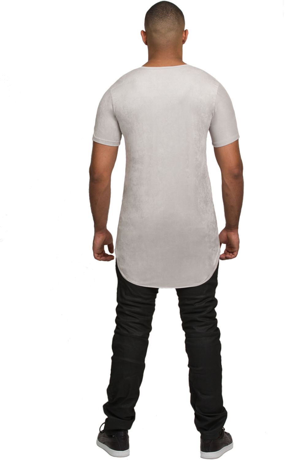 Elongated Stretch Suede Silver Tunic