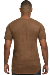 Elongated Mesh Suede Brown Tunic