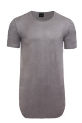 Elongated Stretch Suede Grey Tunic