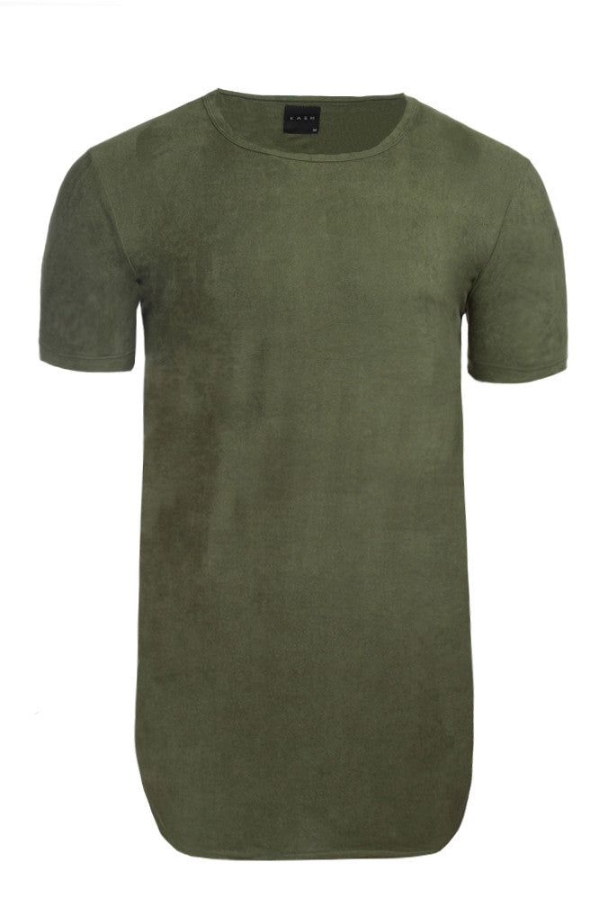 Elongated Stretch Suede Olive Green Tunic