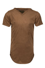 Extended Perforated Brown V Neck Tee