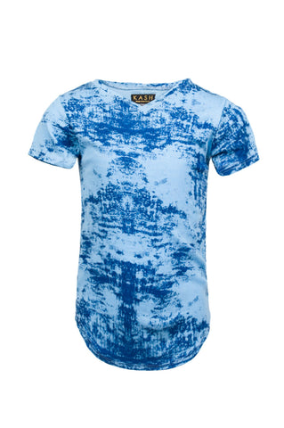 Kids Short Sleeve Extended Blue Ink Blot Tee-Blue