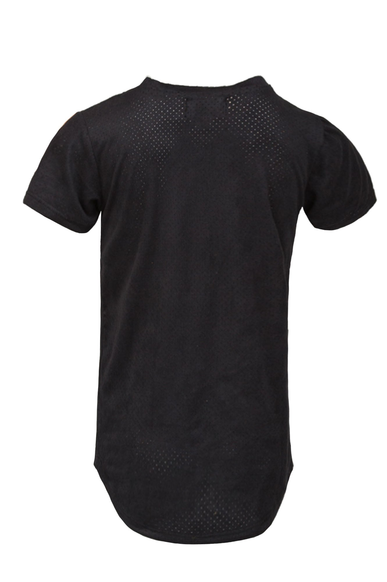 Extended Perforated Black V Neck Tee