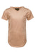 Extended Perforated Sand V Neck Tee