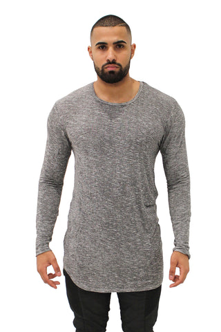 Elongated Soft Grey Knit Sweater