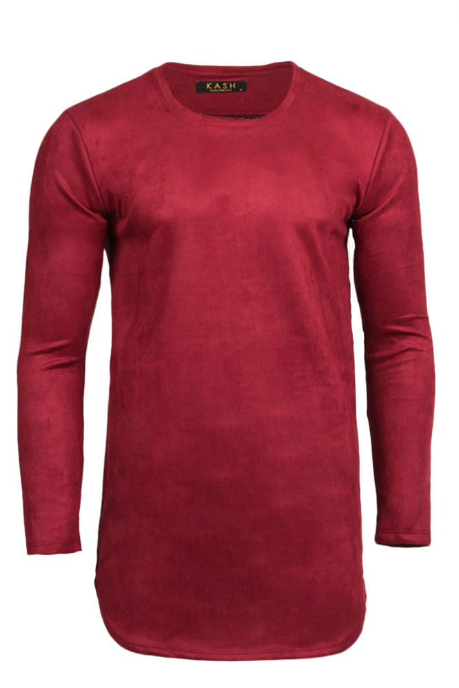 Micro Suede Burgundy Long Sleeve