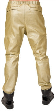 L. Kash Leather Joggers (Gold)