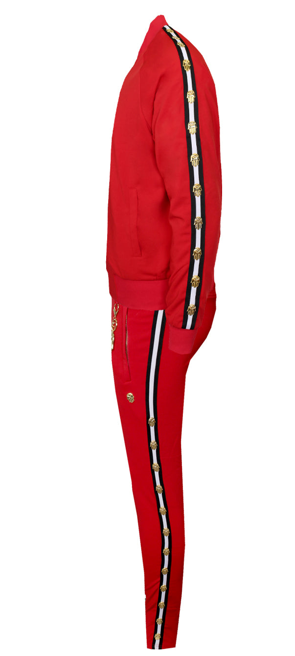 Men's Icon Track Pants with HAMSA Hand and Side Stripes-Red