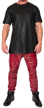 L. Kash Leather Joggers (Red Snake)