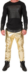 L. Kash Leather Joggers (Perforated Gold)