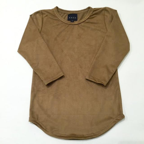 Kids Elongated Suede Extended TanLong Sleeve