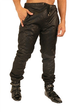 Kite Full Quilted Diamond Leatherette Pants - Black