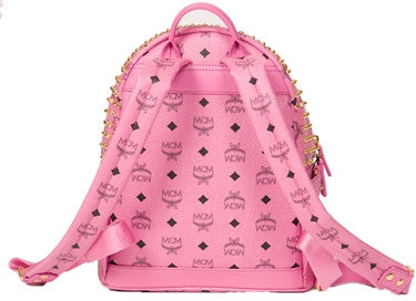 MCM Small Gold Visetos Backpack (Pink)