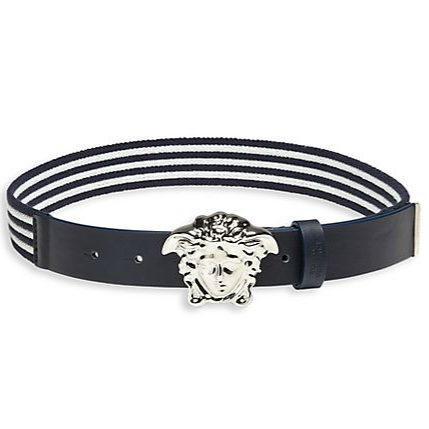 Boys Nautical Print Elastic Belt-Navy and White