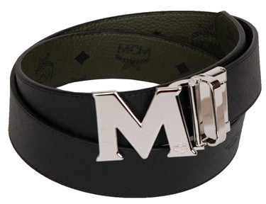 "MCM Reversible ""Big Silver Buckle"" Belt"""
