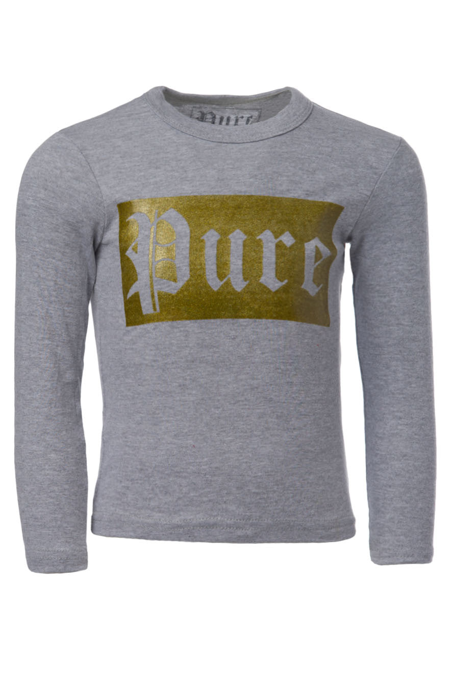 Kids Gold Logo Grey Long Sleeve