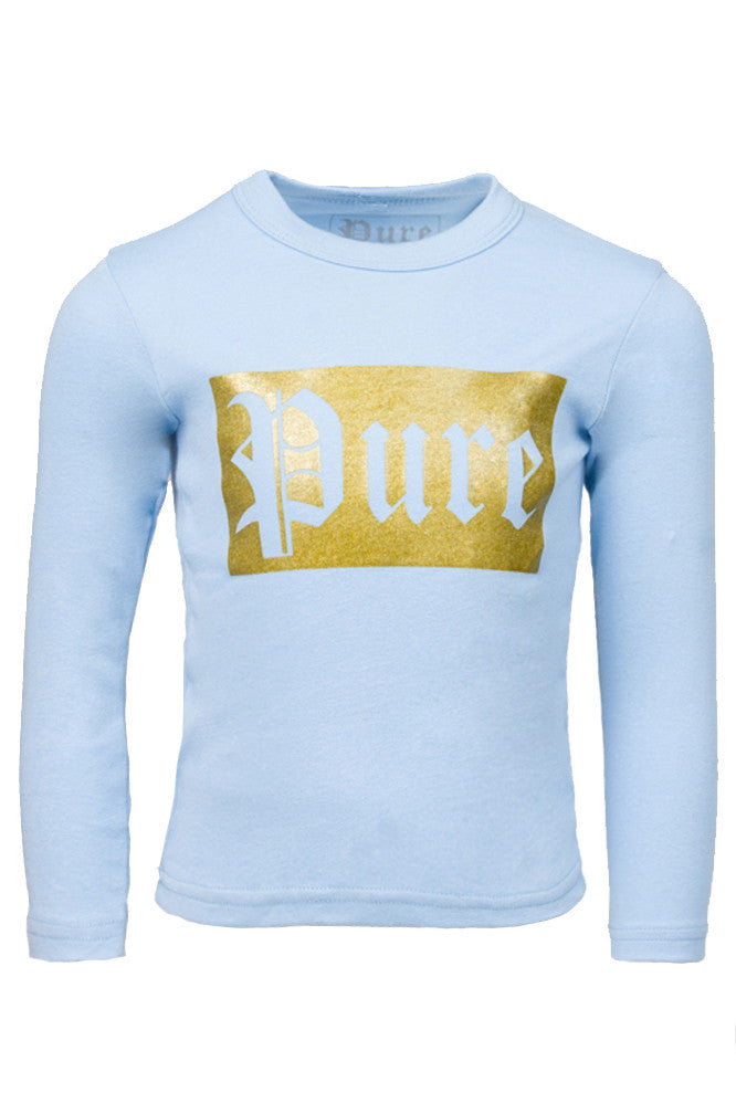 Kids Gold Block Blue Long Sleeve