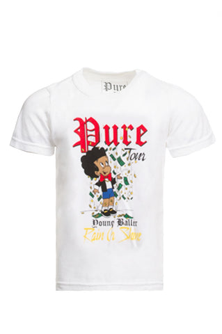 Kids Young Baller White Tee