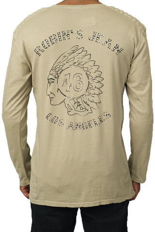 Indian Chief Clear Swarovski Beige Tee