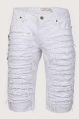 Aurum Swarovski Single Ling Long Flap White Denim Shorts Front