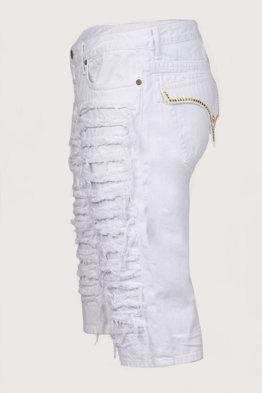 Aurum Swarovski Single Ling Long Flap White Denim Shorts Side