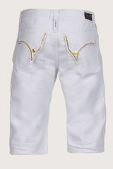 Aurum Swarovski Single Ling Long Flap White Denim Shorts Back