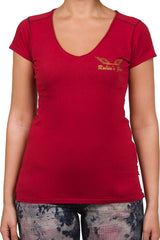 Glitter Gold Wing Red Tee