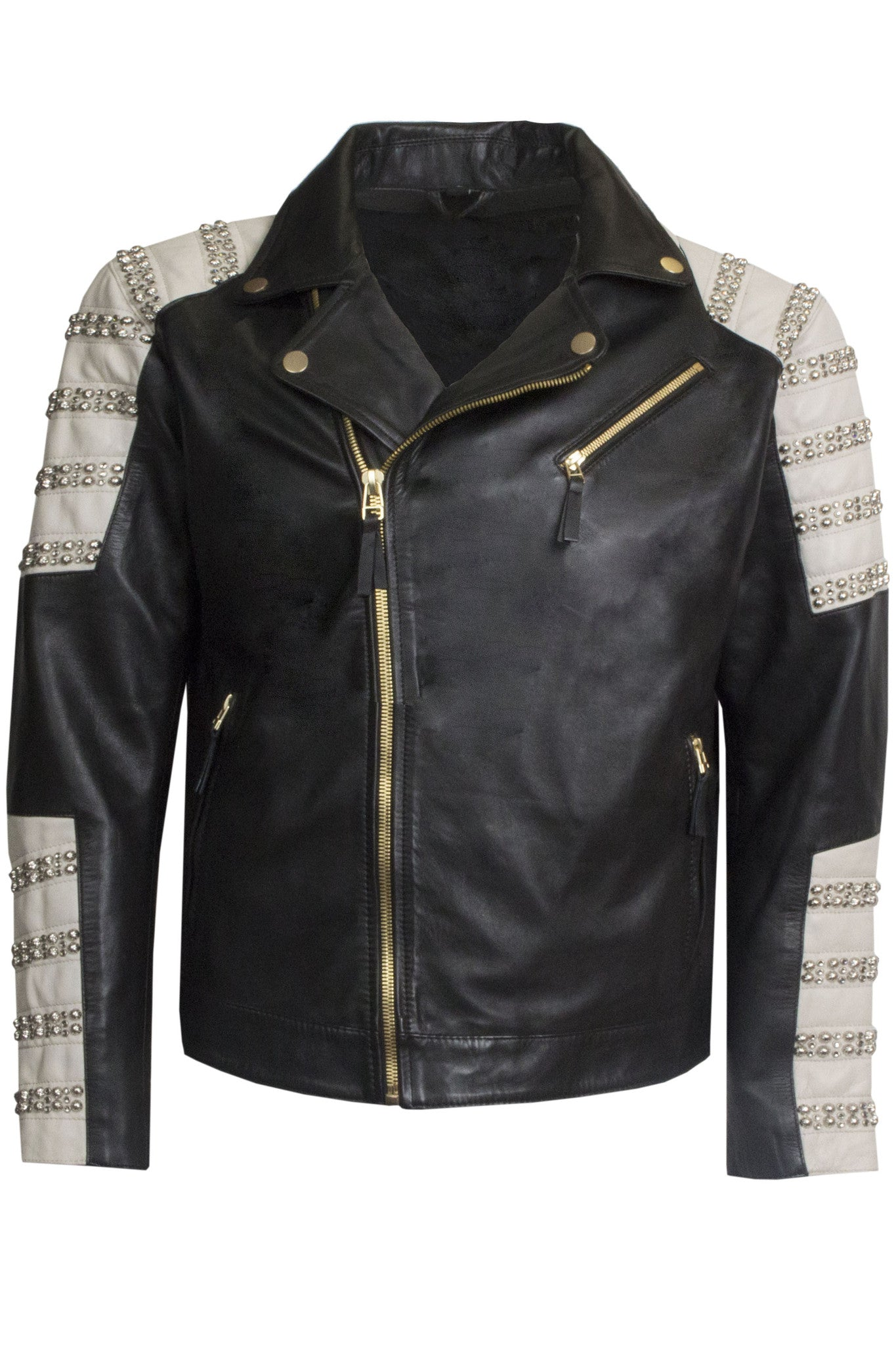 Robin's Jean - Men's Black and White Tribeca Parachute Leather Jacket