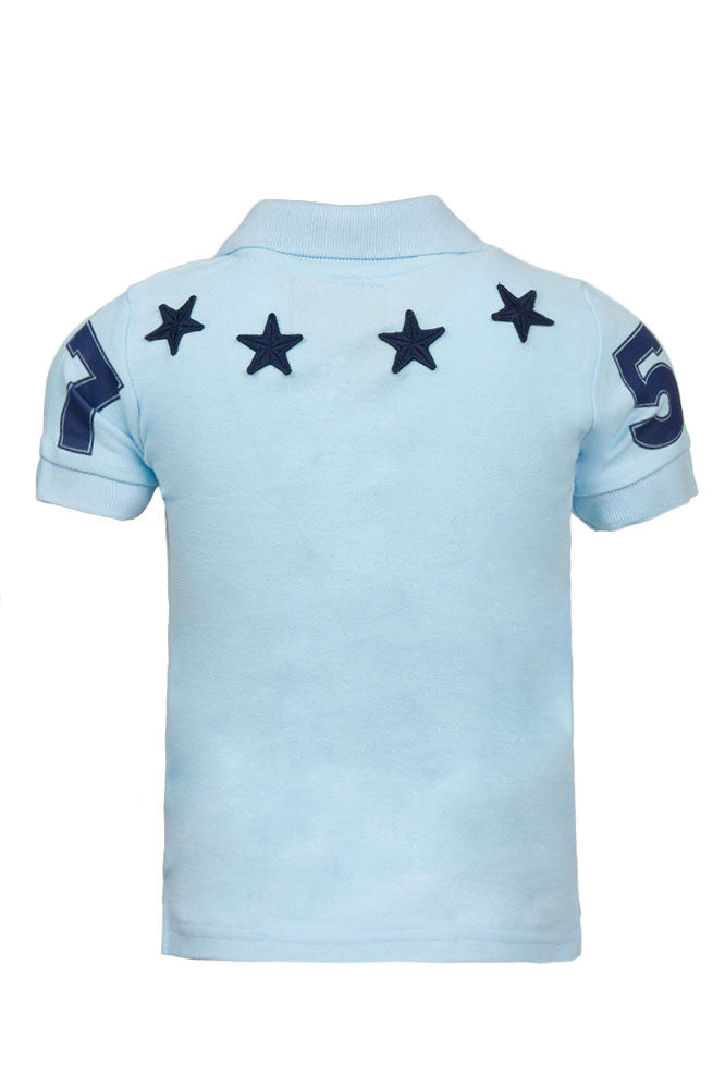 Kids Zipper Sky Blue Polo