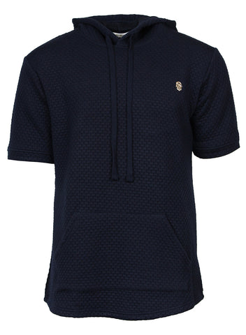 The Kash Navy Basket Weave Tech Textured Hoodie