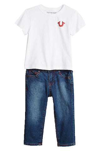 Boys 2 Piece White Tee Denim Set