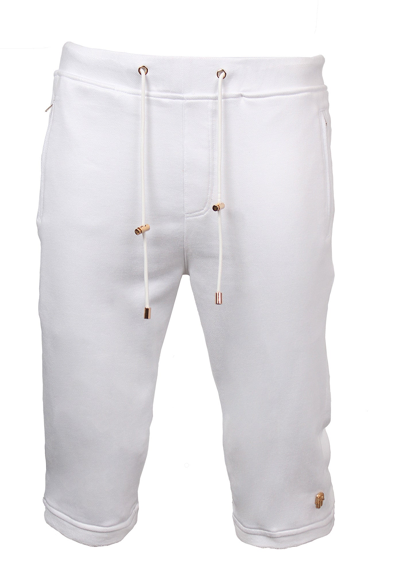Terry Suede Elongated Shorts with White Gold Accents