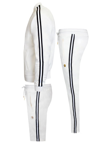 Men's Milk&Cookies Long Sleeve Track Jacket with Side Stripes-White