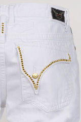 Aurum Swarovski Single Ling Long Flap White Denim Shorts Back Pocket