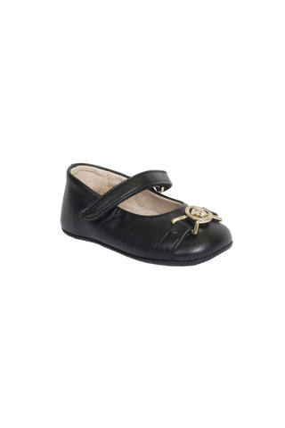 Baby Girls Leather Pre-Walker Shoes-Black