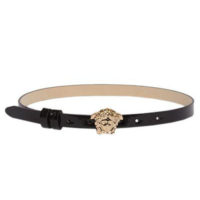 Girls Skinny Leather Belt with Full Gold Medusa Head-Black