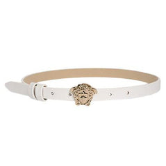 Girls Skinny Leather Belt with Full Gold Medusa Head-White