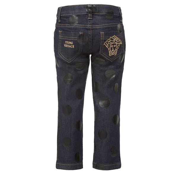 Girls Polka Dot Denim-Navy