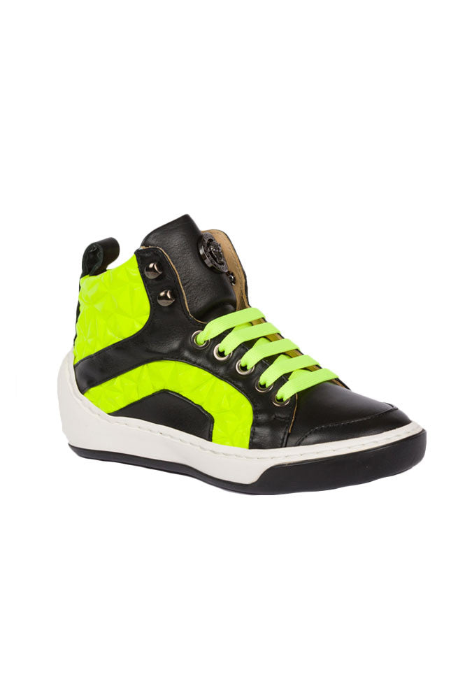 Boys High-Tops Medium Shoes-Black and Lime