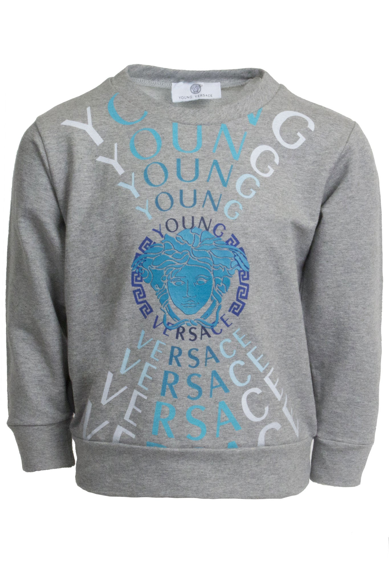 Boys Long Sleeve Medusa Logo Sweatshirt-Grey
